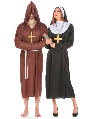 Nonne und Mönch - Paarkostüm für Erwachsene schwarz und braun