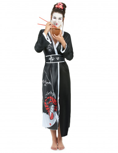 Geisha Kostüm schwarz-rot