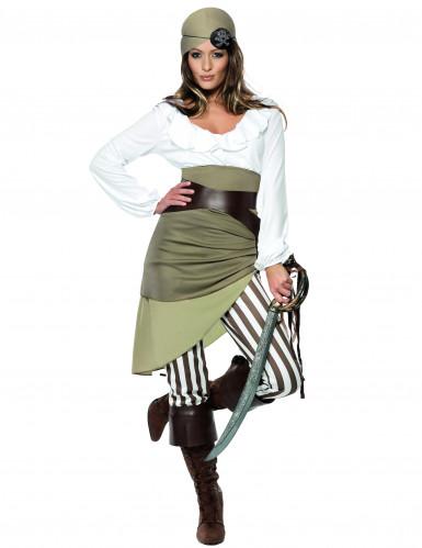 Piratin Damenkostüm grün-weiss