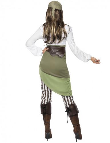 Piratin Damenkostüm grün-weiss-2