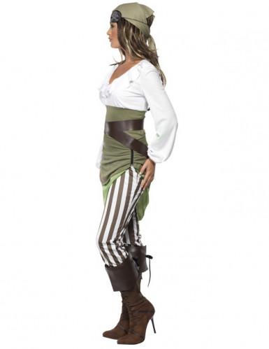 Piratin Damenkostüm grün-weiss-1