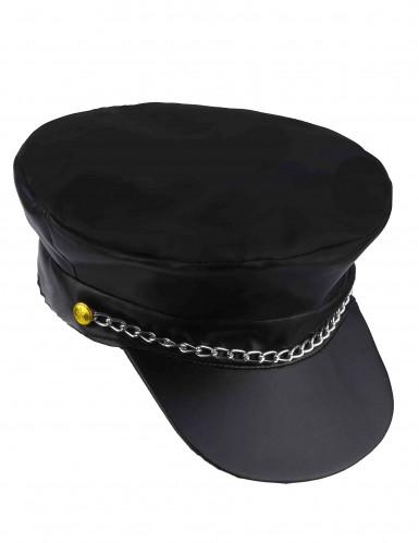 Biker Mütze Rocker Lederoptik mit Kette schwarz