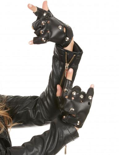 Rocker-Handschuhe Punk-Handschuhe schwarz-silber