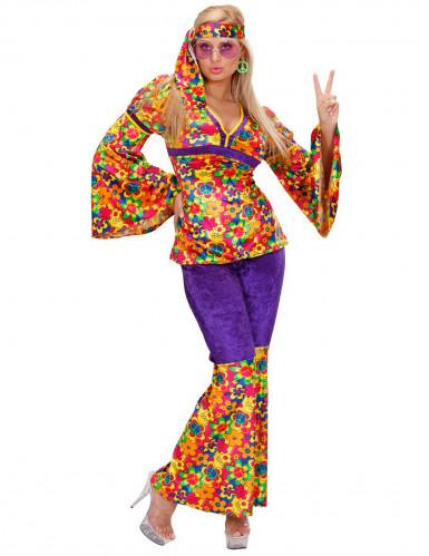 60er Hippie Samt Damenkostüm lila-bunt