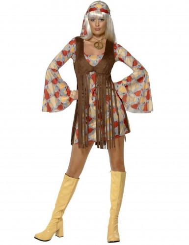 60er 70er Hippie Damenkostüm braun-orange-grau