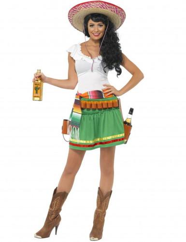 Mexikanerin Tequila Damenkostüm weiss-grün