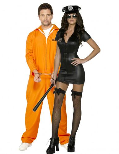 Polizistin und Gefangenen-Paarkostüm Erwachsene - schwarz/orange
