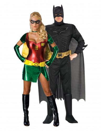 Batman und Robin™ Kostümset für Paare schwarz-rot-grün