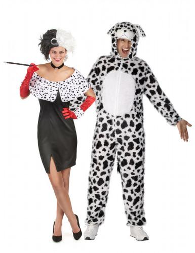 Cruella mit Dalmatiner Paarkostüm für Erwachsene schwarz-weiss