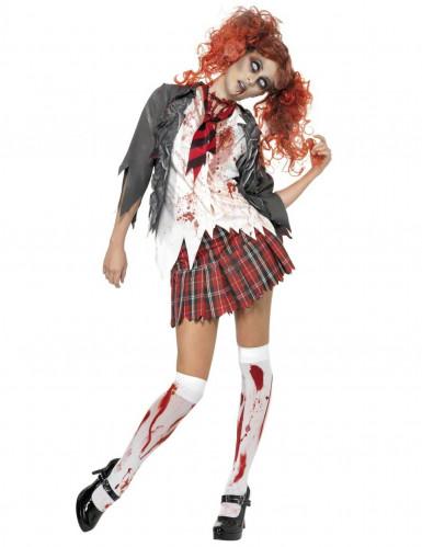 Untote-Schülerin-Damenkostüm High School Halloweenkostüm rot-weiss-grau