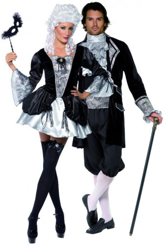 Halloween Paar-Kostüm Vampir Barock - schwarz/silberfarben