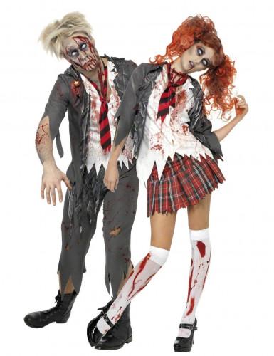 Zombie-Schülerpaar - originelles Halloween-Kostüm für zwei Erwachsene - grau-weiß-rot