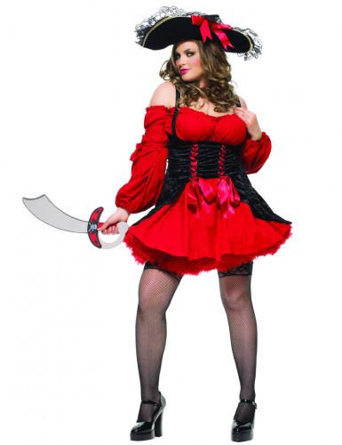 Sexy Piratinnen-Kleid Damenkostüm Plus Size rot-schwarz