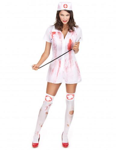 Blutige Krankenschwester Halloween-Damenkostüm weiss-rot