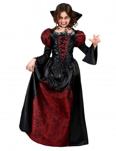 Gefährliche Vampirin Halloween-Kinderkostüm rot-schwarz