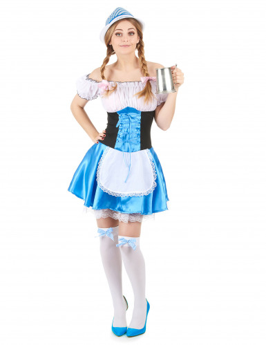 Bayerin-Kostüm Dirndl Volksfest Damenkostüm blau-weiss-schwarz