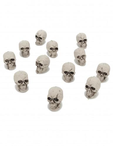 Mini-Totenschädel Halloween-Deko 3cm 12er-Set weiss
