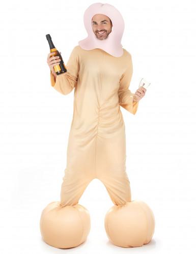 Frivoles Penis-Kostüm JGA-Kostüm beige-rosa