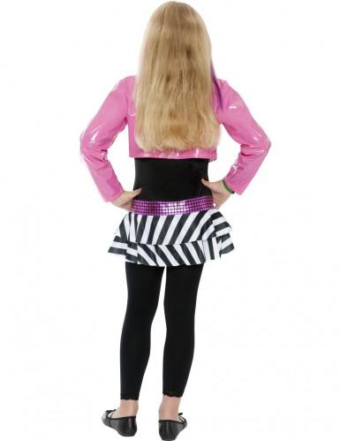 80er Rockstar Popstar Mädchen Kinderkostüm pink-schwarz-weiss-1