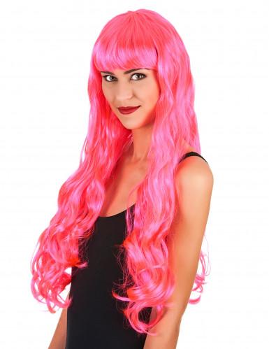 Langhaar-Damenperücke mit Pony gewellt pink