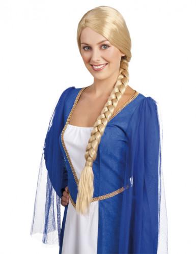 Mittelalter-Damenperücke Zopfperücke lang blond