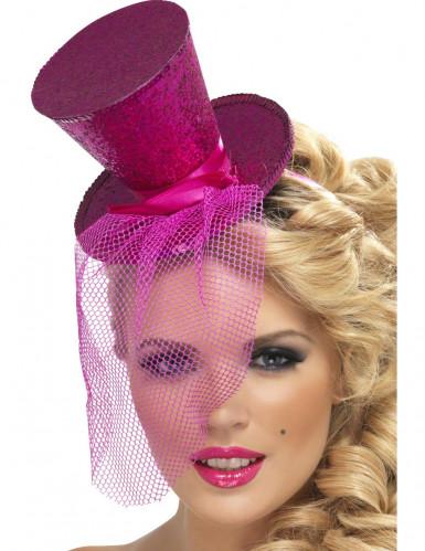 Mini Zylinder mit Schleier Kostüm-Accessoire pink