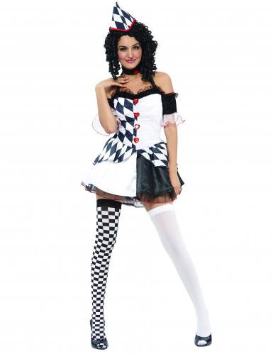 Sexy Harlekin Damenkostüm Clown weiss-schwarz-rot