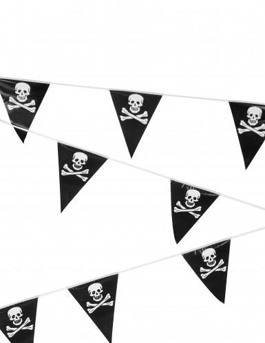 Piratengirlande Totenkopf schwarz-weiss