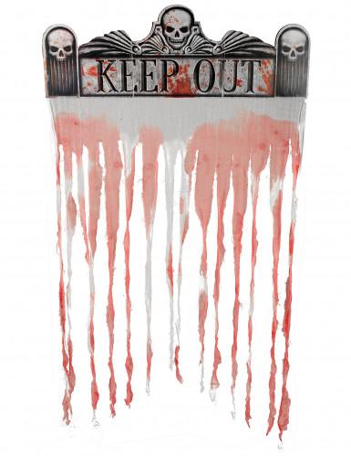 blutiger fetzenvorhang halloween deko weiss rot 97x137cm. Black Bedroom Furniture Sets. Home Design Ideas