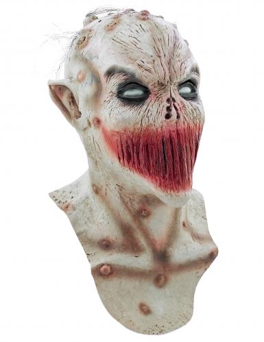 Latex Maske zugenähter Mund bunt