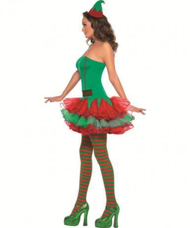 Sexy Weihnachtswichtel Damenkostüm Weihnachtself grün-rot-2