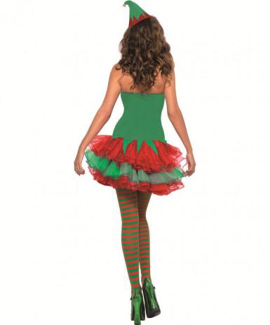 Sexy Weihnachtswichtel Damenkostüm Weihnachtself grün-rot-1