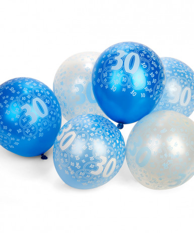 30 jahre ballons geburtstagsdeko jubil umsballons 6 st ck blau hellblau weiss g nstige. Black Bedroom Furniture Sets. Home Design Ideas