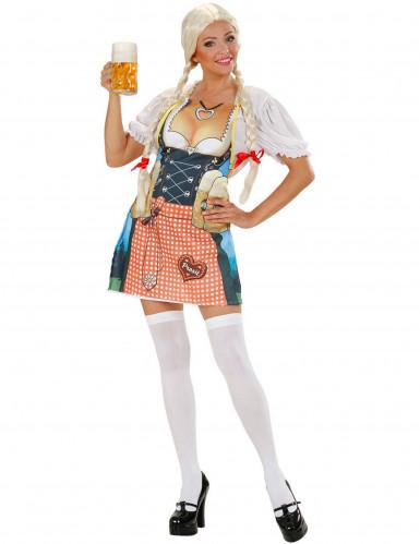 Bayern-Damenschürze mit Dirndl-Motiv bunt