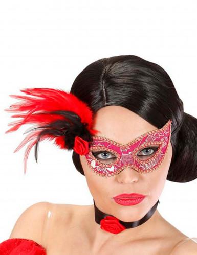 Venezianische Maske mit Federn und Rose bunt