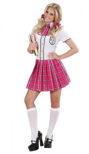 Süsse Schuluniform Schulmädchen Damen Kostüm weiss-pink