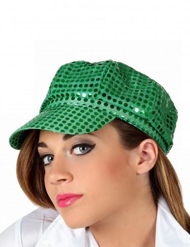 Disco Pailletten Kappe für Damen grün