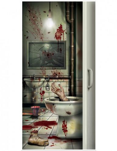 Blutiges Badezimmer Tür Poster Halloween Party Deko Bunt 76x152cm