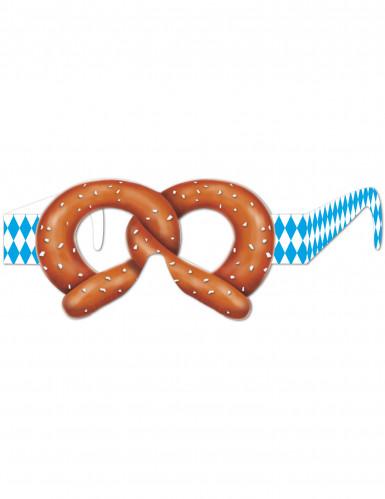 Oktoberfest Party-Brille Brezel blau-weiss-braun