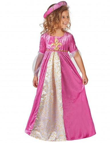 Mittelalterliches Prinzessin Kinderkostüm pink-weiss-gold