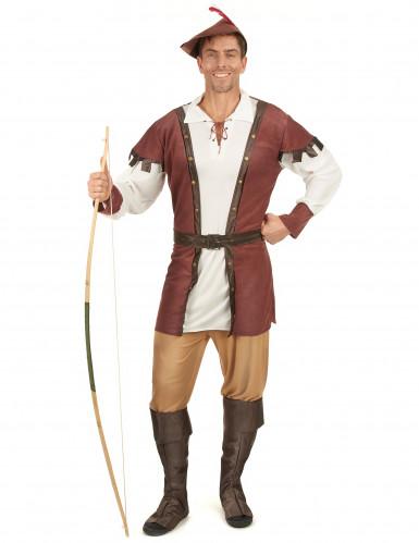 Mittelalter Jäger-Kostüm braun-weiss-beige