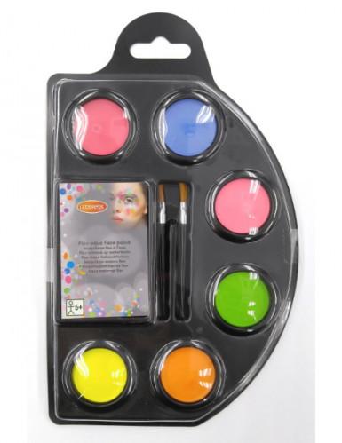Aqua Make-Up Schminkpalette 6 Farben fluoreszierend bunt 12g