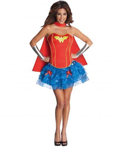 Justice League Wonder Woman Superheldin Damenkostüm Lizenzware rot-blau-gelb