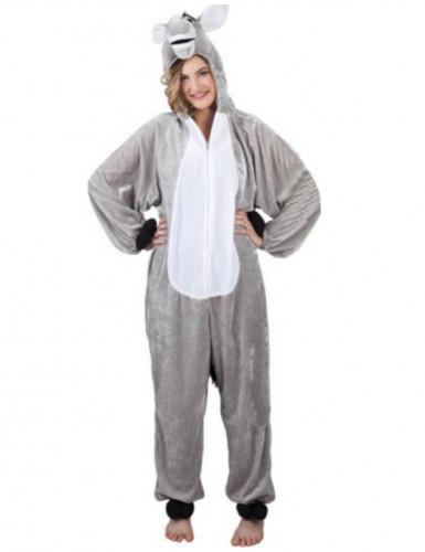 Kostüm Esel Erwachsene grau-weiß