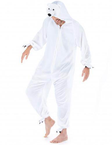 Eisbär Unisex-Kostüm Onesie weiss-1
