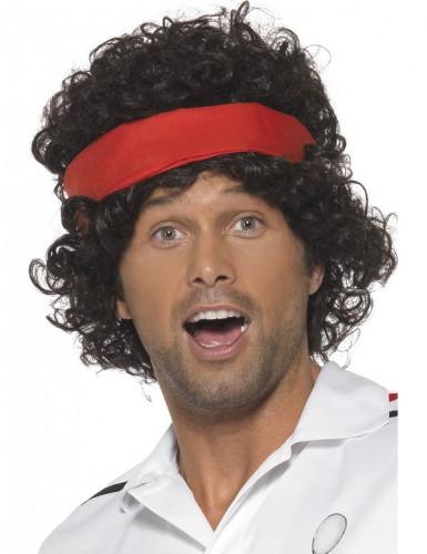 Tennis-Perücke 80er-Sportlerperücke mit Stirnband schwarz-rot