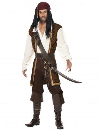 Verruchter Pirat Seeräuber Kostüm braun-weiss