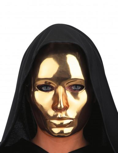 Glänzende Maske Faschingsmaske gold 22,5cm