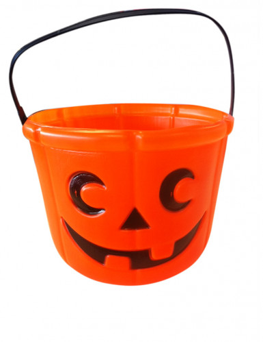 Kürbis Halloween-Eimer Trick or Treat orange 14cm