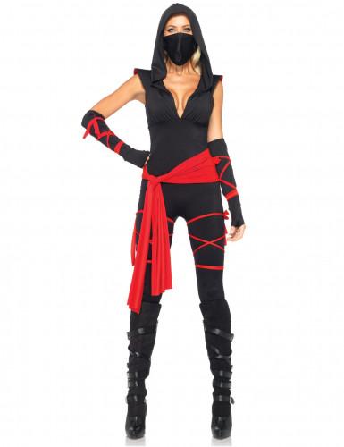 Sexy Ninja Asia Damenkostüm schwarz-rot